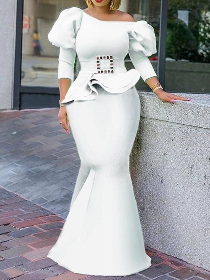 Ericdress Floor-Length Off Shoulder Falbala Elegant Puff Sleeve Dress