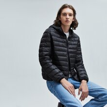 Guys Solid Hooded Puffer Jacket