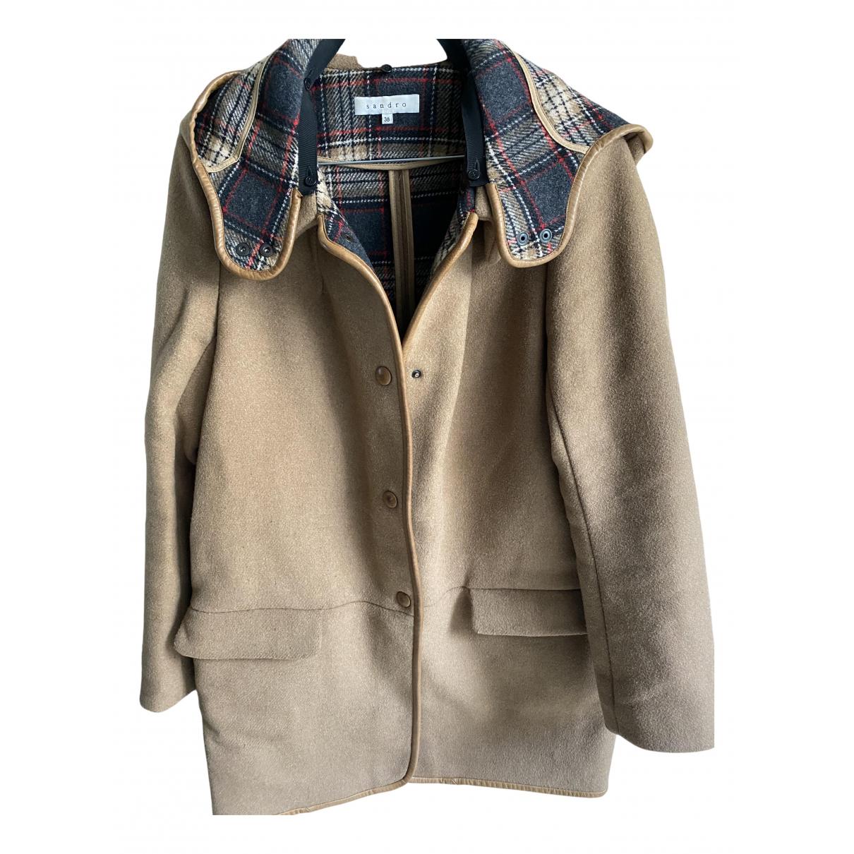 Sandro Fall Winter 2019 Camel Wool coat for Women 36 FR