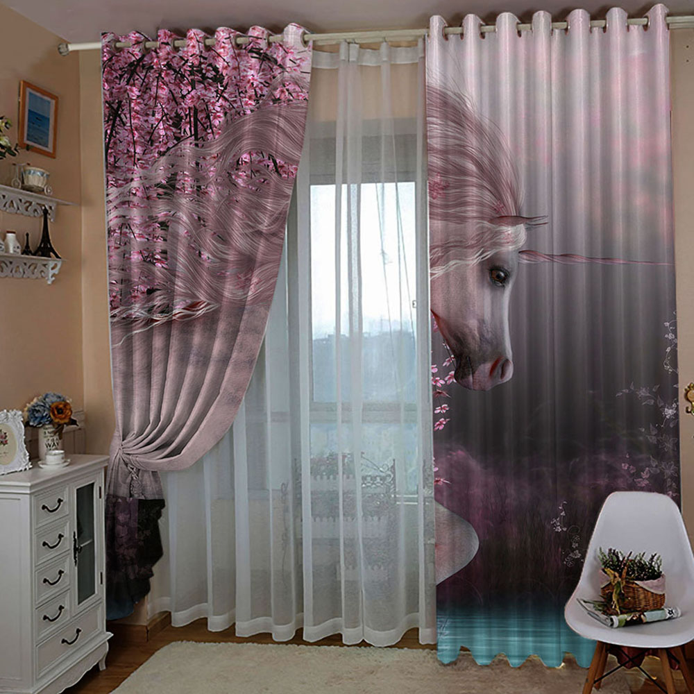 3D Romantic Unicorn Printed Blackout Decorative Curtains Custom 2 Panels Drapes No Pilling No Fading No off-lining