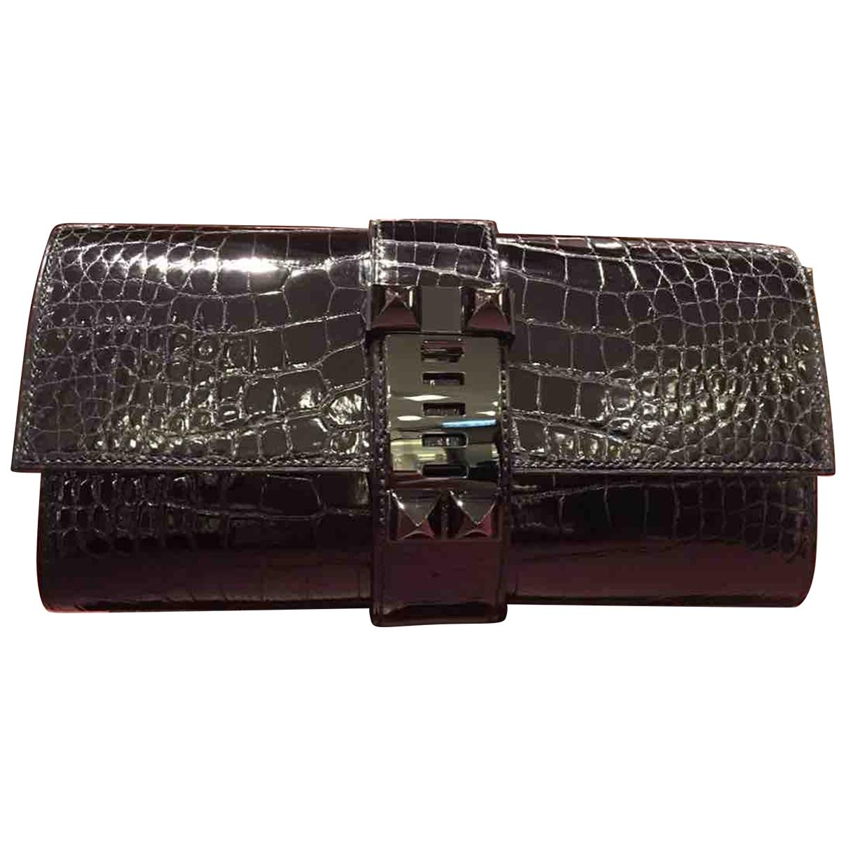Hermes - Pochette Medor pour femme en alligator - noir