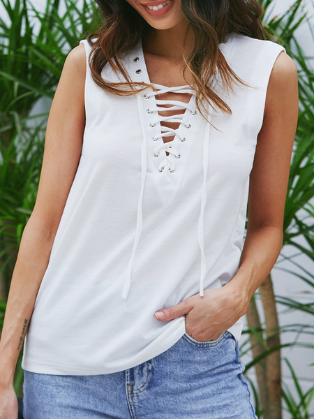 Yoins White Lace-up Design Deep V-neck Tank Top