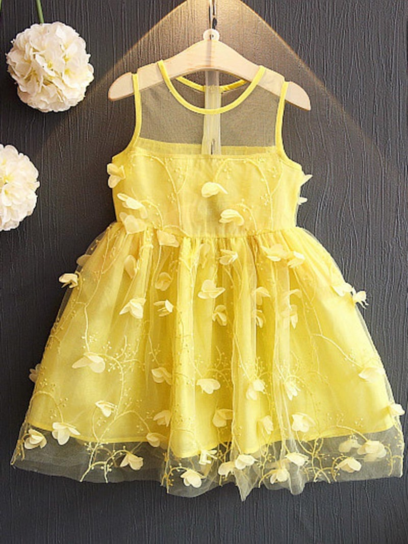 Ericdress Appliques Mesh Lace Girl's A-Line Sleeveless Princess Dress