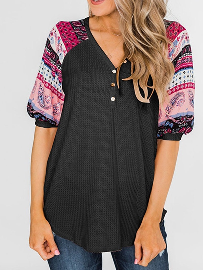 Ericdress V-Neck Button Print Short Sleeve Casual Sweater