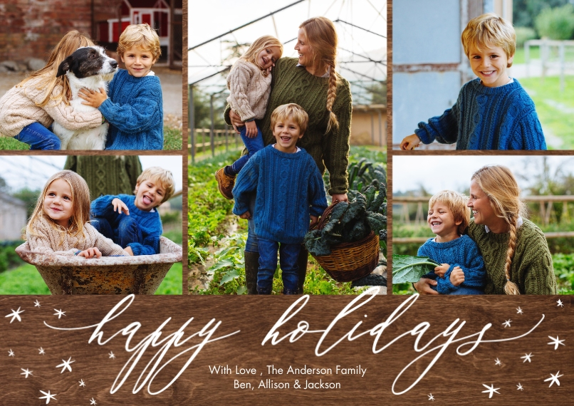 Holiday Photo Cards 5x7 Cards, Premium Cardstock 120lb with Scalloped Corners, Card & Stationery -Holiday Script Scattered Stars by Tumbalina