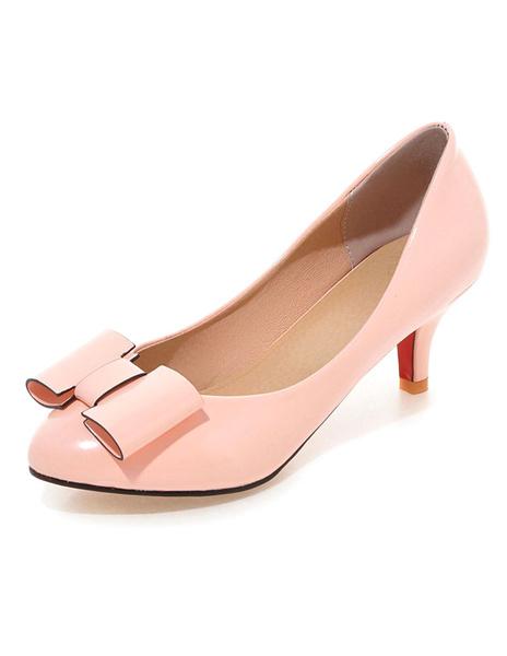 Milanoo Black señalo Toe PU zapatos de tacon altos para las mujeres