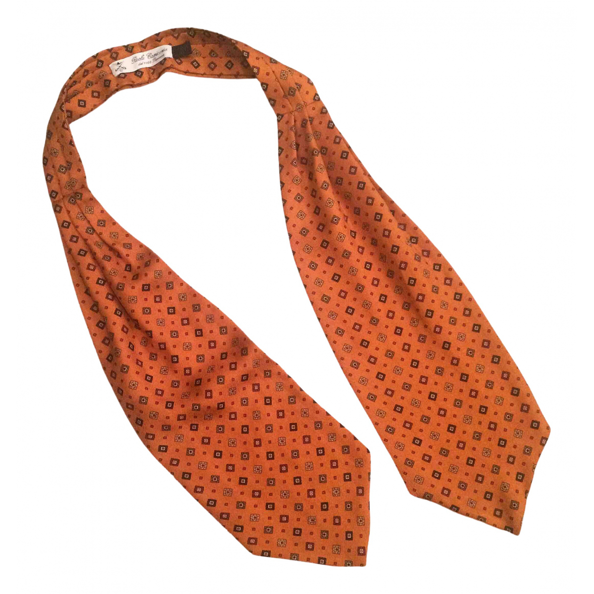 Non Signé / Unsigned \N Orange Silk scarf & pocket squares for Men \N