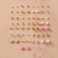 30 Paare Brief & Herz Dekor Ohrringe Set
