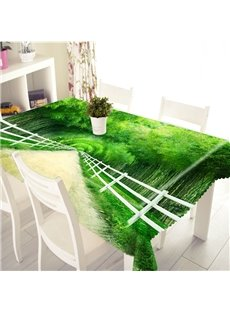 3D Green Bamboo Road Printed Thick Polyester Table Cover Cloth