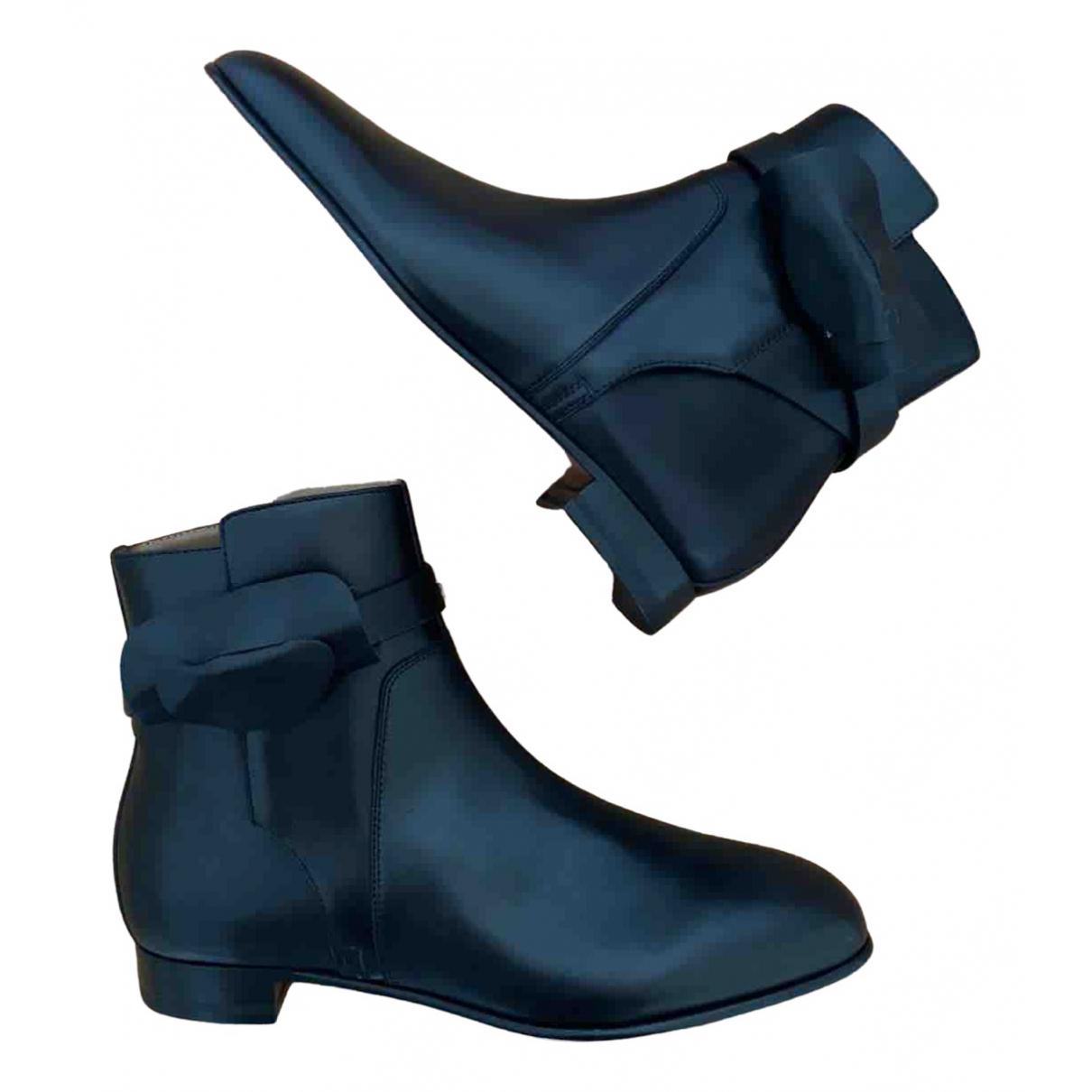 Hermes - Bottes   pour femme en cuir - noir