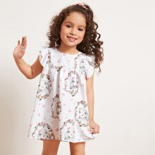 Toddler Girls Rabbit & Floral Print Smock Dress