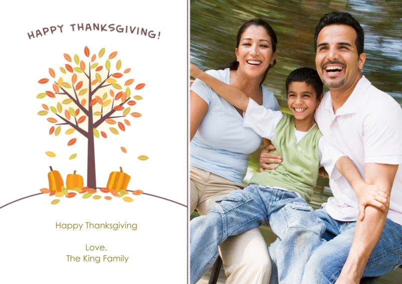 Thanksgiving Photo Cards Flat Glossy Photo Paper Cards with Envelopes, 5x7, Card & Stationery -Thankful Pumpkins