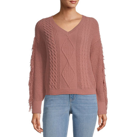 Almost Famous-Juniors Womens V Neck Long Sleeve Pullover Sweater, X-large , Pink