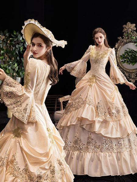 Milanoo Victorian Dress Costumes Women's Retro Ruffle Flare Half Sleeves Dress Marie Antoinette Victorian Era Clothing Vintage Dress halloween