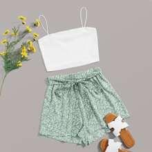 Rib-knit Cami Top & Self Belted Ditsy Floral Shorts Set