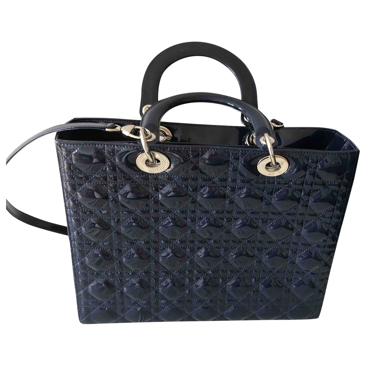 Dior Lady Dior Navy Patent leather handbag for Women \N