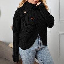 Plus Turtleneck Button Detail Asymmetrical Hem Sweater