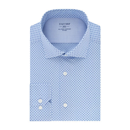 Stafford Mens Spread Collar Long Sleeve Wrinkle Free Stretch Cooling Dress Shirt, 19 38-39, Blue