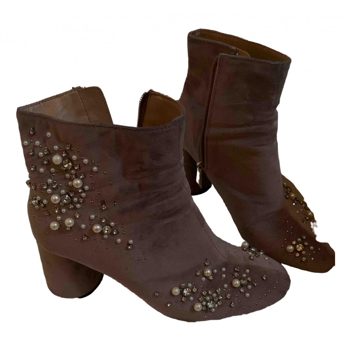 Zara \N Stiefel in  Rosa Veloursleder