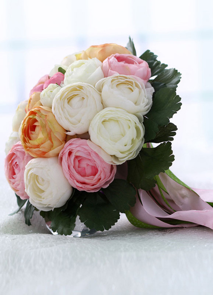 Milanoo Wedding Bridal Bouquet Hand Tied Ribbons Colorful Silk Flowers