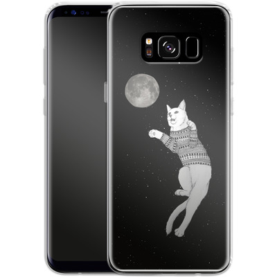 Samsung Galaxy S8 Silikon Handyhuelle - Hipster Cat Trying to Catch the Moon von Barruf