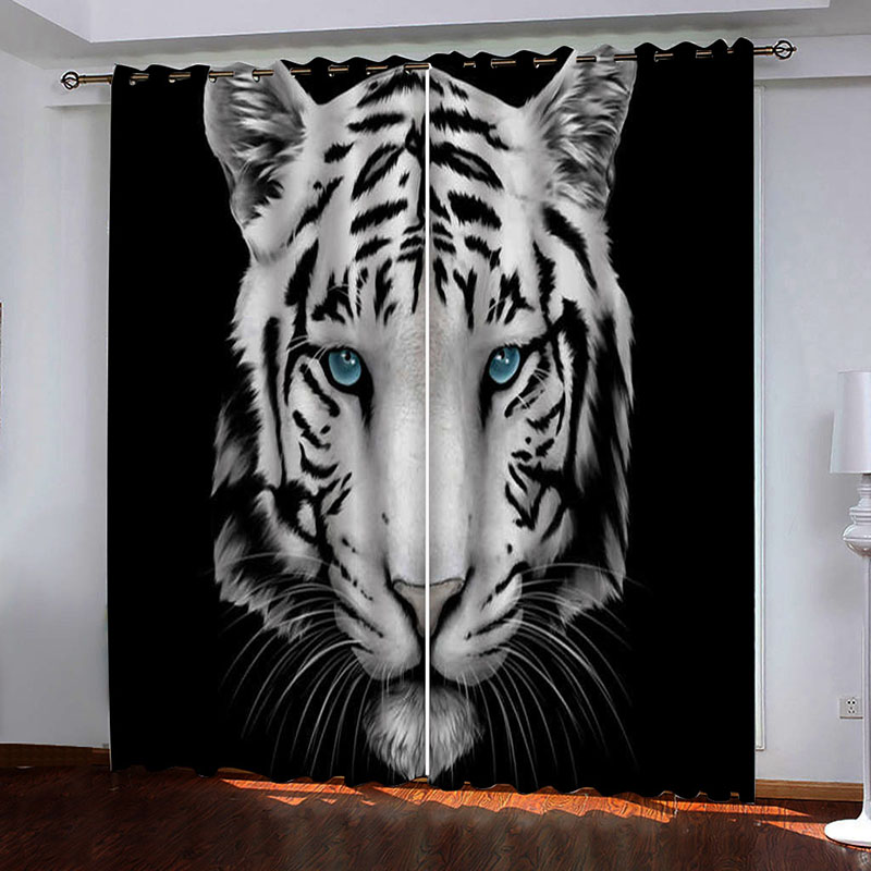 3D Tiger Head with Blue Eyes Printed Blackout Decoration 2 Panels Curtain Drapes for Living Room No Pilling No Fading No off-lining