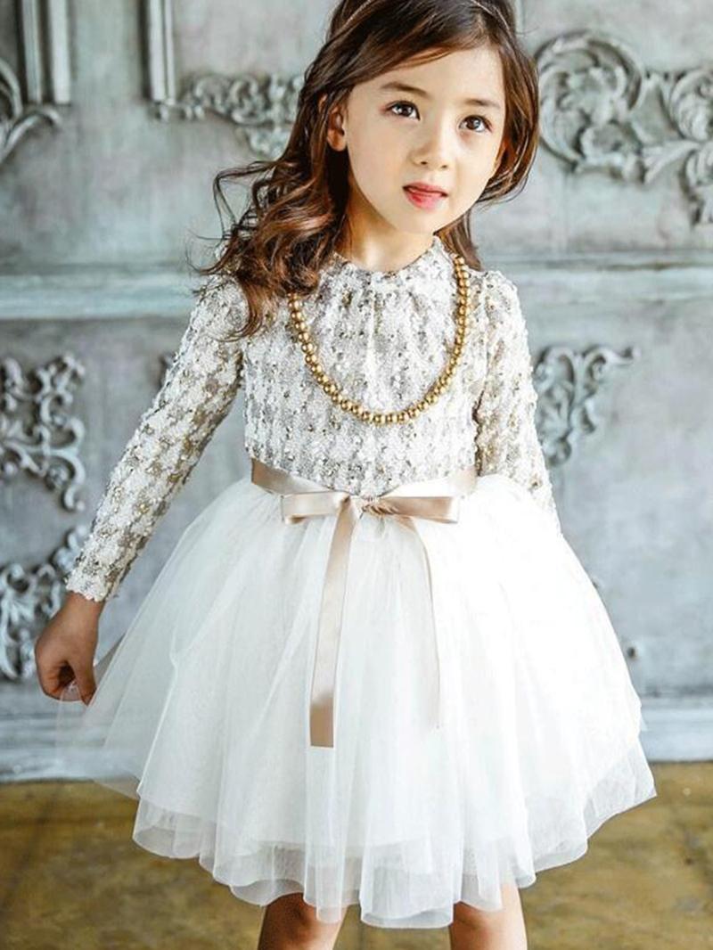 Ericdress Plaid Patchwork Long Sleeve Girls Tutu Dress