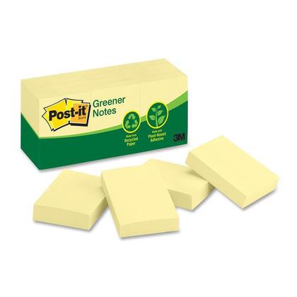 Post-it@ - Feuillets Greener recycles, jaune canari - plaine, 1-1/2 x 2
