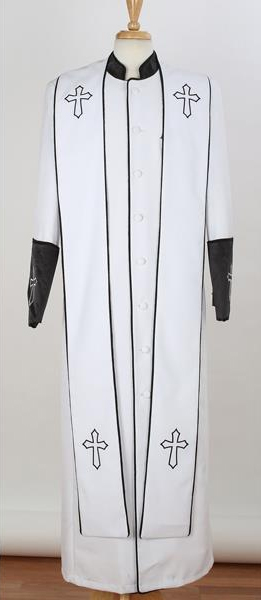 Men's Big & Tall Church Black Cross Accent Robe Stole Mandarin Suits