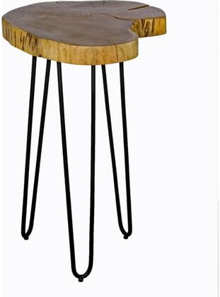 Hairpin Collection AWDD1520 Natural Live Edge Wood with Metal 20 Round End Table