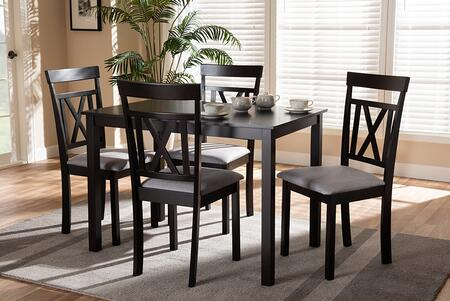 RH123C-DARK BROWN/GREY DINING SET Baxton Studio Rosie Modern and Contemporary Espresso Brown Finished and Grey Fabric Upholstered 5-Piece Dining