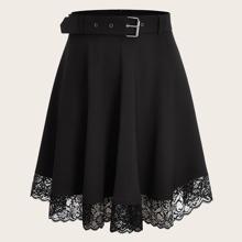 Falda amplia con cinturon con encaje en contraste - grande