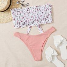 Bandeau Bikini Badeanzug mit Blumen Muster und Rueschen