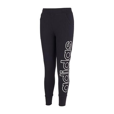 adidas Big Girls Mid Rise Cuffed Jogger Pant, Medium (10-12) , Black