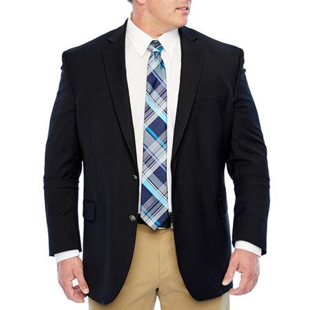 Stafford Mens Hopsack Classic Fit Blazer - Big and Tall, 54 Big Long, Black