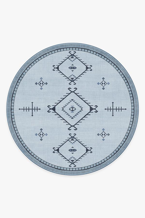 Washable Rug Cover & Pad   Damali Blue Overdye Rug   Stain-Resistant   Ruggable   8' Round