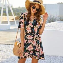 Floral Print Surplice Front Ruffle Asymmetrical Hem Dress
