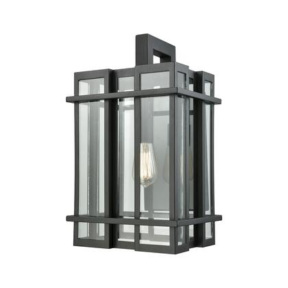 45316/1 Glass Tower 1 Light Outdoor Wall Sconce in Matte Black with Clear