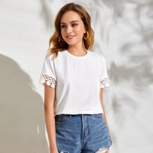 Lace Trim Solid Tee
