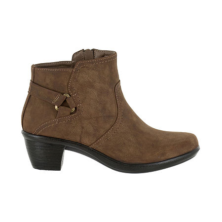 Easy Street Womens Dawnta Booties Block Heel, 7 Medium, Brown