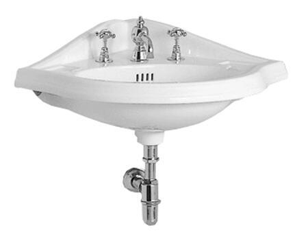 AR884-1H China Series corner wall mount basin with oval bowl  backsplash  dual soap ledges and