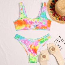 Tie Dye Cut-out High Cut Bikini Swimsuit