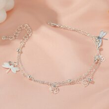 Dragonfly Charm Layered Anklet