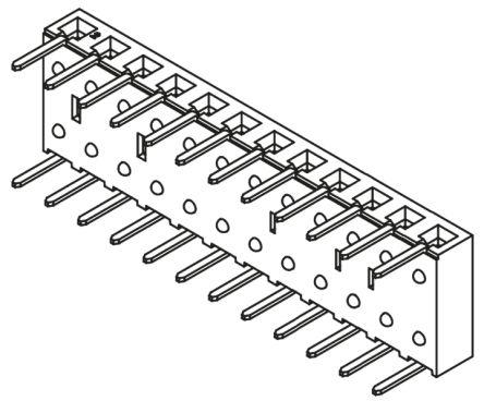 Samtec , BCS 2.54mm Pitch 12 Way 1 Row Right Angle PCB Socket, Through Hole, Through Hole Termination