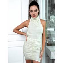 HouseOfChic vestido ajustado de color metalico de espalda abierta con cordon de cuello halter