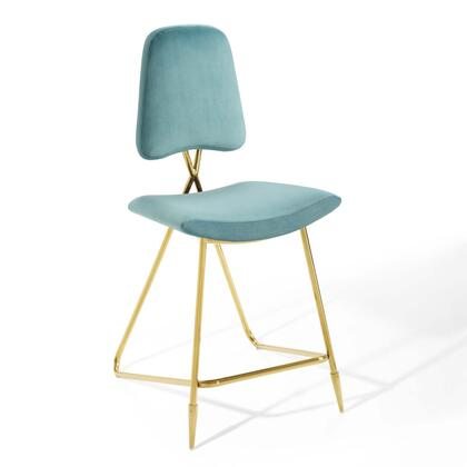 Ponder Collection EEI-3879-SEA Counter Height Stool with High Density Foam Padding  Vintage Glamour Style  Gold Stainless Steel Frame and