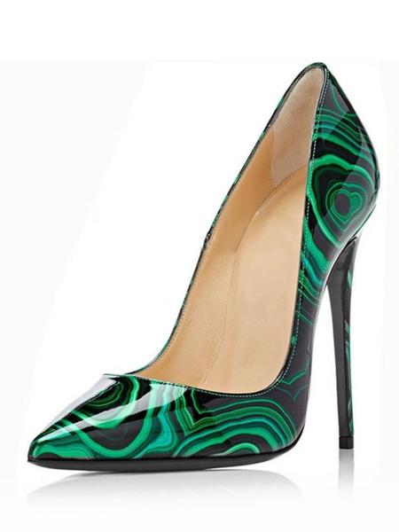 Milanoo Mujer de Tacon Altos Verde Punta Puntiaguda Impreso Tacon de Aguja Cremallera Arriba Zapatos 2020 Vestido Zapatos