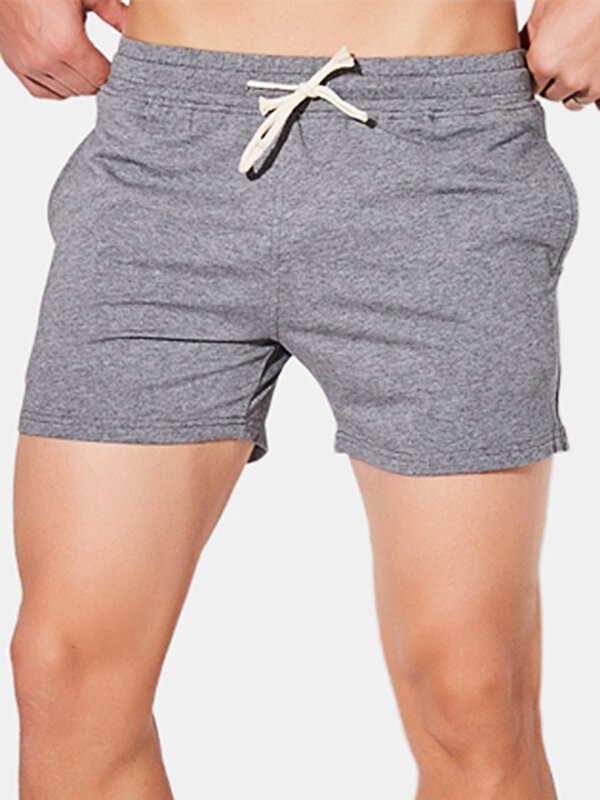 Mens 5 Colors Solid Color Home Boxer Shorts Middle Waist Breathable Athletic Shorts