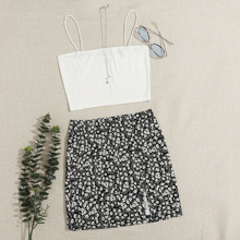 Solid Cami Top & Split Hem Daisy Floral Skirt Set