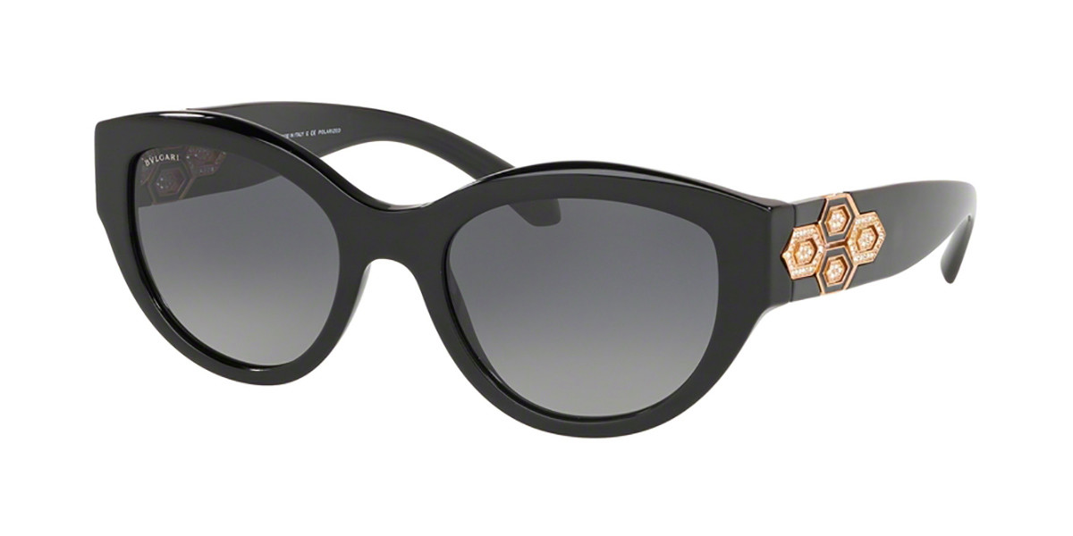 Bvlgari BV8221BF Asian Fit Polarized 501/T3 Women's Sunglasses Black Size 53